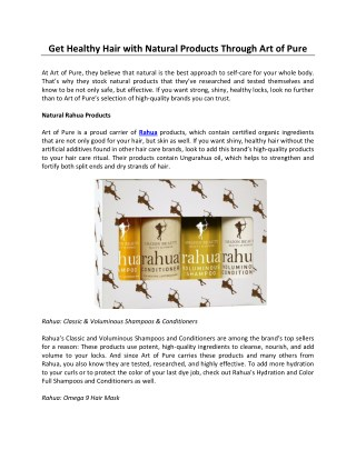 Get Healthy Hair with Natural Products Through Art of Pure