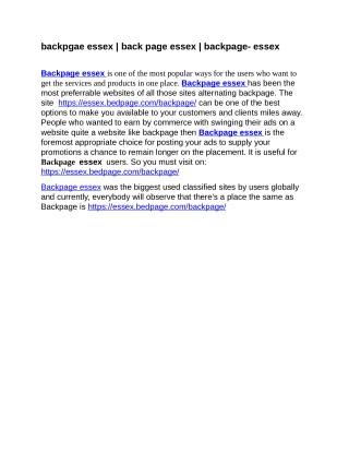 backpgae essex   back page essex   backpage- essex Keywords: #backpgae essex, #back page essex