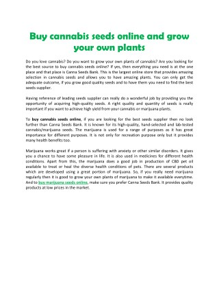 Buy cannabis seeds online and grow your own plants