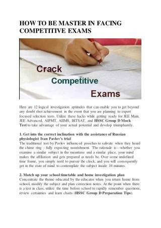 HSSC Group D Preparation tips