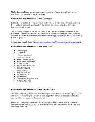 Hematology Diagnostics Market 2023 | Most Eminent Players | Sysmex, Danaher, Nihon Kohden, Siemens, Abbott Laboratories
