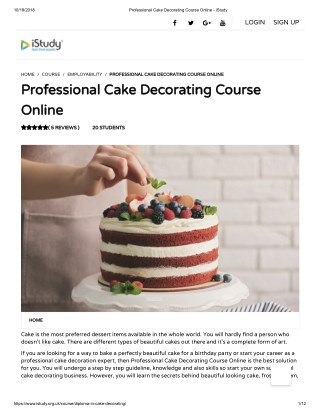 Professional Cake Decorating Course Online - istudy