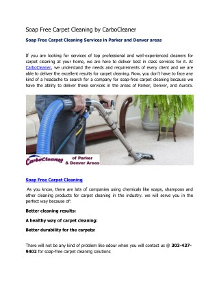 Soap Free Carpet Cleaning