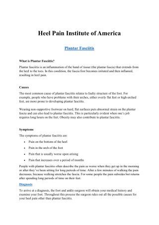 Plantar Fasciitis Patient at Heel Pain Institute- Laurel-America