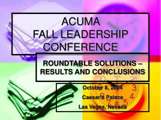 ACUMA  FALL LEADERSHIP CONFERENCE