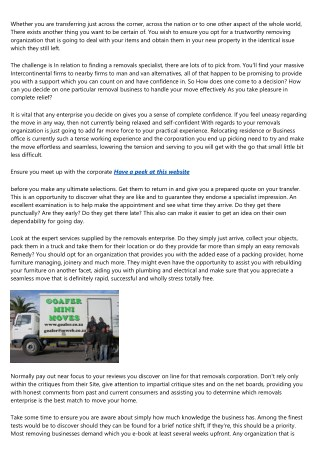 Tips To Getting a Reputable Removal Corporation