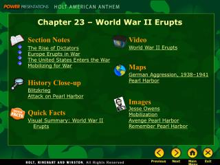 Chapter 23 – World War II Erupts