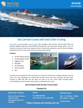 Get Carnival Cruises with Deck Chair Cruising