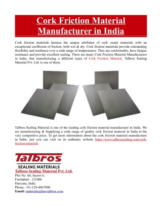 Cork Friction Material Manufacturer in India
