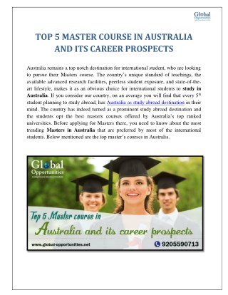 TOP 5 MASTER COURSE IN AUSTRALIA AND ITS CAREER PROSPECTS
