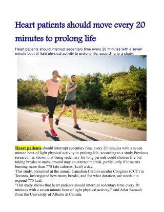 Heart patients should move every 20 minutes to prolong life: Study