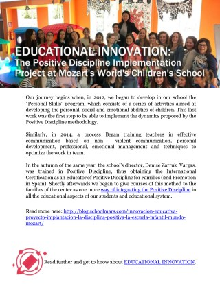 EDUCATIONAL INNOVATION: The Positive Discipline Implementation Project at Mozart's World's Children's School