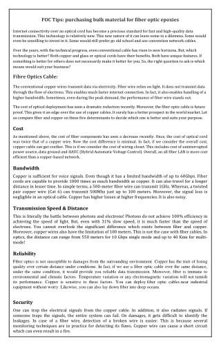 FOC Tips: purchasing bulk material for fiber optic epoxies