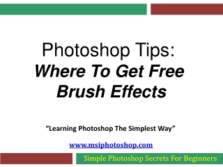 Photoshop Tips - Where To Get Free Brush Effects