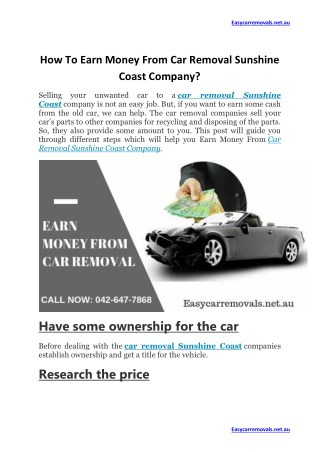 How To Earn Money From Car Removal Sunshine Coast Company?