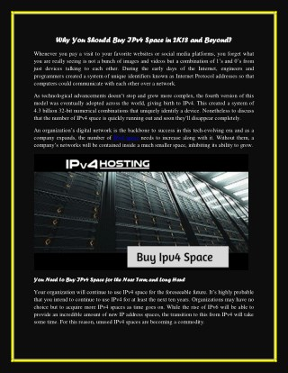 Why You Should Buy IPv4 Space in 2K18 and Beyond?