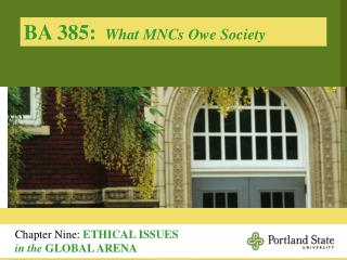 BA 385:   What MNCs Owe Society