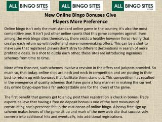 New Online Bingo Bonuses Give Players More Preference