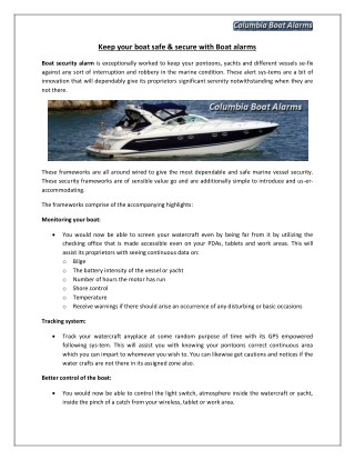 Keep your boat safe & secure with Boat alarms