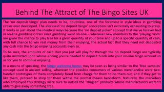 Behind The Attract of The Bingo Sites UK