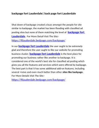 backpage fort Lauderdale| back page fort Lauderdale