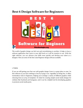 Best 6 Design Software for Beginners