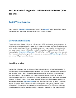 RFP search engine for RFP contacts