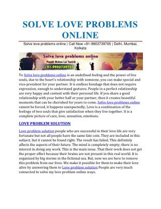 Solve love problems online
