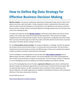 How to Define Big Data Strategy for Effective Business Decision Making