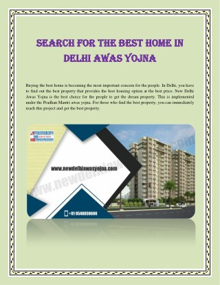 Search For The Best Home In Delhi Awas Yojna