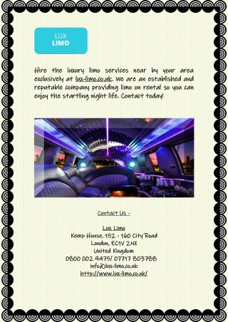 Northampton Limo Hire Services at Lux-limo.co.uk