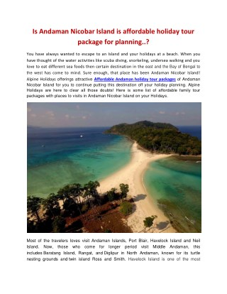 affordable andaman holiday tour packages