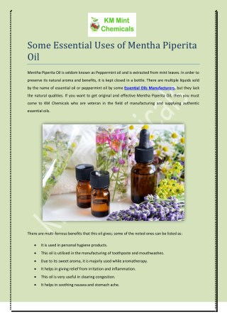 Some Essential Uses Of Mentha Piperita Oil
