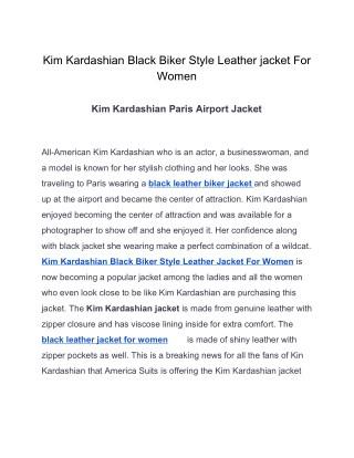 Kim kardashian Black Biker Style Leather Jacket