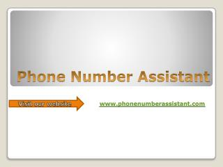 Phone number assistant