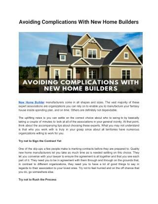 Avoiding Complications With New Home Builders