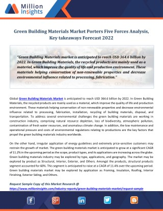 Green Building Materials Market Porters Five Forces Analysis, Key takeaways Forecast 2022