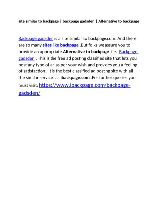 site similar to backpage   backpage gadsden   Alternative to backpage