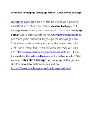 site similar to backpage   backpage dothan   Alternative to backpage