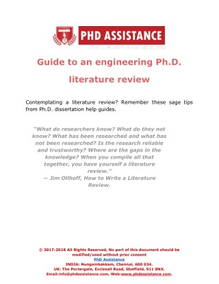 Guide to an engineering Ph.D. literature review