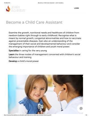 Child Care Assistant course - John Academy