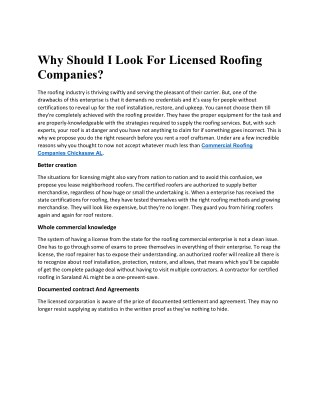 Why Should I look For Licensed Roofing Companies