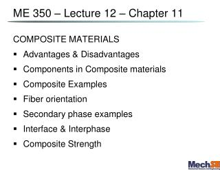 ME 350 – Lecture 12 – Chapter 11