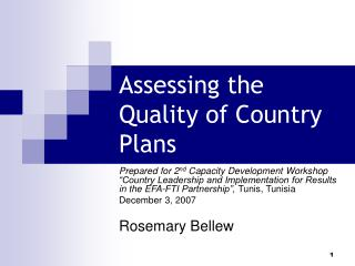 Assessing the Quality of Country Plans