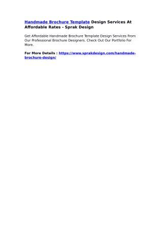 Handmade Brochure Template Design Services At Affordable Rates - Sprak Design