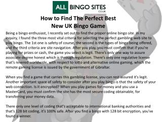 How to Find The Perfect Best New UK Bingo Game
