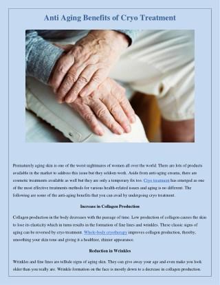 Anti Aging Benefits of Cryo Treatment