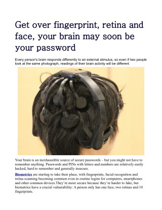 Get over fingerprint, retina and face, your brain may soon be your password