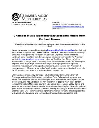 Chamber Music Monterey Bay presents Music from Copland House