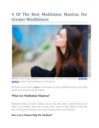 4 Of The Best Meditation Mantras For Greater Mindfulness